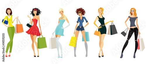 Ladies and shopping bags