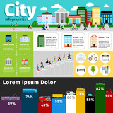 City infographics elements. Vectors urban life and town streets, transport buildings info vector illustration