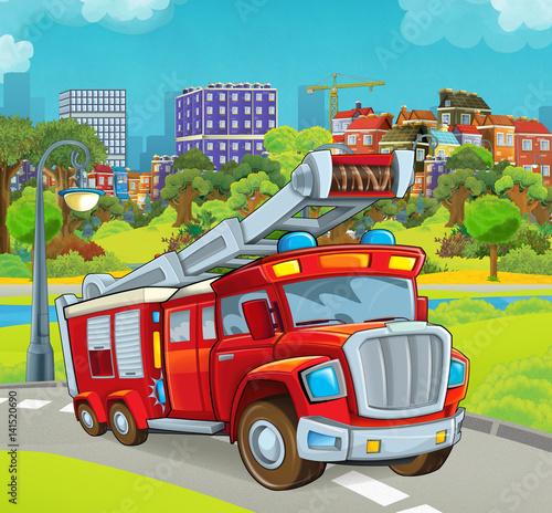 etap kreskówka z pojazdu do ciężarówki straży pożarnej