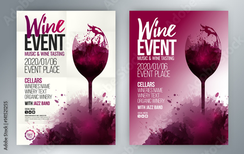 Template for invitations, promotions and wine events