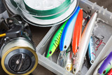 Closeup of a fishing box with colorful lures. - 141522834