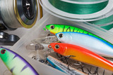 Closeup of a fishing box with colorful lures. - 141522875