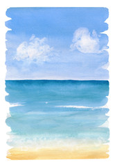 Watercolor painting the background of sea view with jagged edges and brush marks. Sea sand beach under blue sky with clouds. © Irina Violet