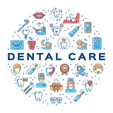 Fototapety Dental care circle infographics Stomatology icon. Colorful dentistry thin line art icons
