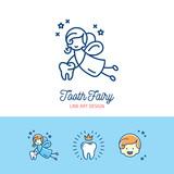 Tooth Fairy logo Сhildren's dentistry thin line art icons