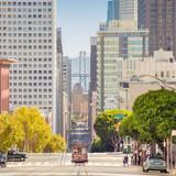 San Francisco Cable Car on California Street at sunset, USA