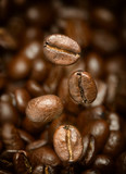 Macro photo of flying coffee beans. All beans in focus. - 141525887