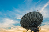 Satellite dish in sun set,in Thailand