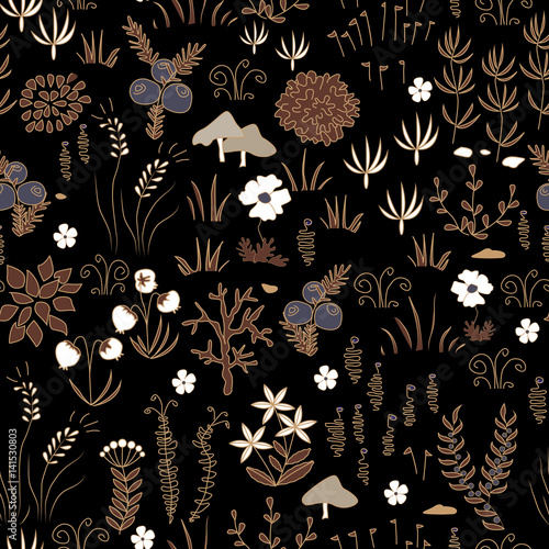 Cotton fabric Vector hand drawn floral background. herbal doodle ornament