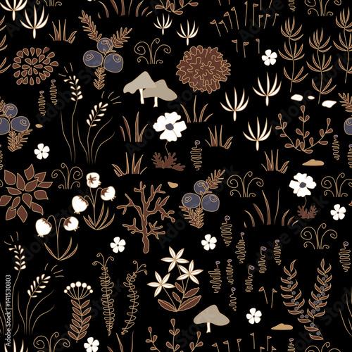 Materiał do szycia Wektor ręcznie rysowane tła kwiatowy. ziołowy ładny ornament