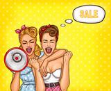 Ilustracja w stylu pop art - krzyczące kobiety Sale!