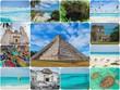 Riviera Maya Views Collage. Pyramid in Chichen Itza, Tulum, Cancun, Yucatan, Mexico