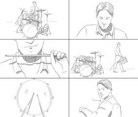 Storyboard with man playing drums