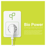 Green energy concept background with bio power and electric plug , vector , illustration - 141541043