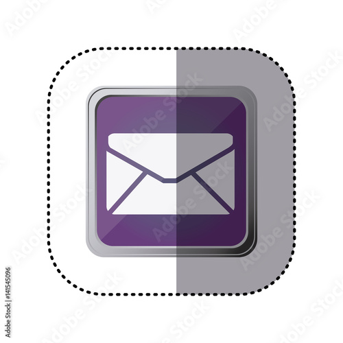 purple emblem close letter icon, vector illustration design