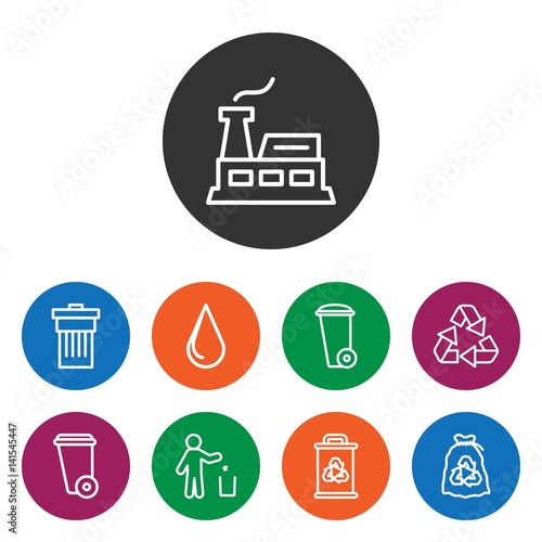 Set of 9 environment outline icons