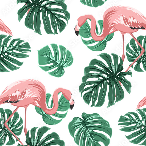 Materiał do szycia Pink flamingo birds and turquoise green monstera leaves exotic tropical jungle paradise seamless pattern on white backround. Vector design illustration for decoration, fashion, textile, fabric.