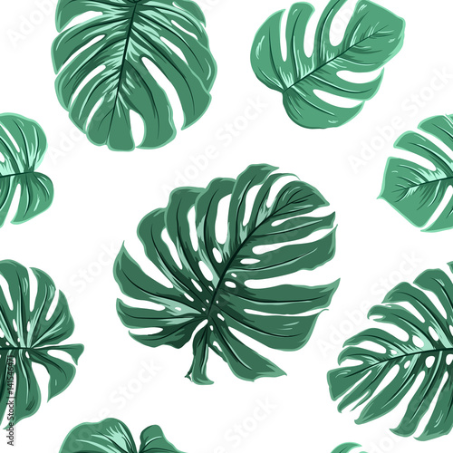 Materiał do szycia Tropical exotic big turquoise blue green monstera leaves seamless pattern on white background. Vector design illustration for textile, fabric, decoration, packaging, wrapping, fashion.