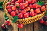 Fresh sweet cherries in a basket