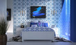 Nowoczesna sypialnia i niebieski wystrój. - 141550636