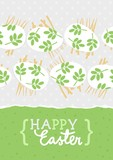 messy white eggs with green leaf motif, vector Easter card with horizontal border on light dotted background and wishes in English