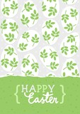 Happy Easter card with messy white eggs with green leaf motif and wishes in English vector background