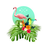 An attractive arrangement of tropical floral elements including palm leaves, birds and flowers. Vector illustration.