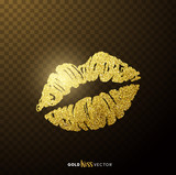 Gold and glittering glamorous kissing shaped lips. - 141568655