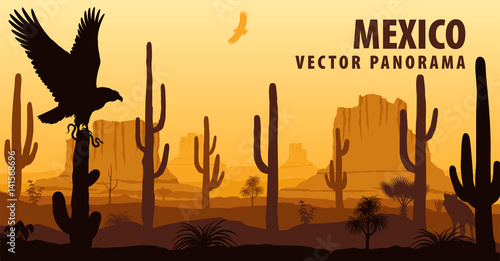 Fotobehang Bruin vector panorama of Mexico with eagle in desert