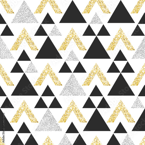 Gold geometric triangle background. Abstract seamless pattern with triangles in gold and dark gray. - 141573630