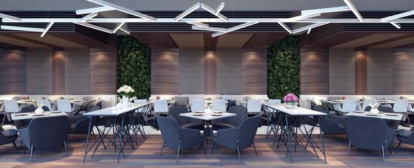 Modern concept design of restaurant lounge 3D Render © hd3dsh