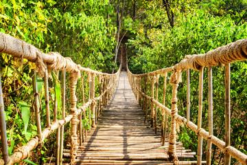 Scenic simple suspension bridge over gorge
