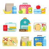 Fototapety Children's school lunch box icon in flat style