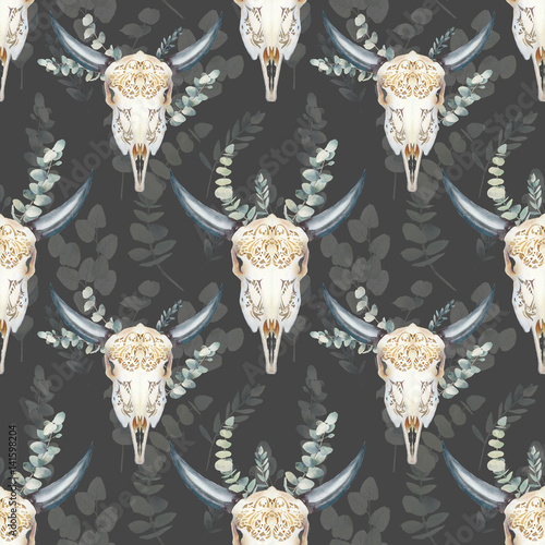 Watercolor bull skull seamless pattern. Boho chic style texture with buffalo head and eucalyptus branches. Hand drawn wallpaper design in tribal style with natural objects on neutral background. - 141598204