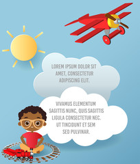 African American boy with glasses and toy train. Boy playing with train. Vector Paper art of cloud and plane flying in the sky. Template advertising brochure with space for text. Origami concept