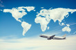 World Map over the airplane,Travel Concept