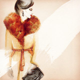 Woman in coat. Street fashion style. Hand drawing illustration. Watercolor painting