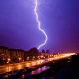 Amazing lightning view above night city