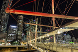 Kurilpa Bridge illuminated pedestrian architecture closeup looking towards Brisbane CBD