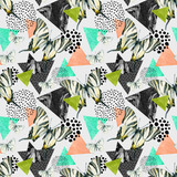 Abstract natural geometric seamless pattern