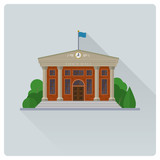 Town Hall building flat design vector illustration