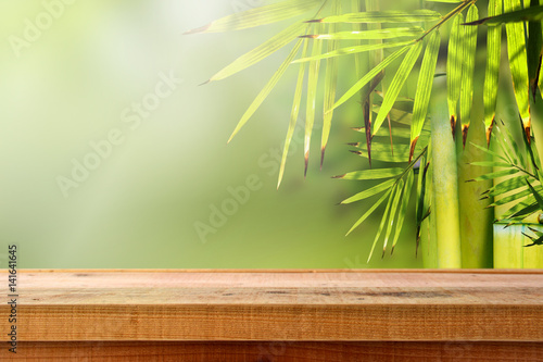 Fotobehang Bamboe Beautiful bamboo nature background and wooden table.