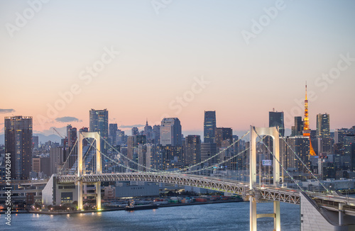 Poster Rainbow bridge sunset with tokyo tower
