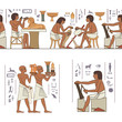 Egyptian hieroglyph and symbol. Murals with ancient egypt scene