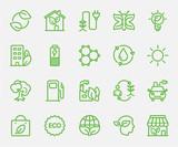 Ecology set line icon - 141645271