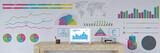 Business Panorama mit Diagrammen an Wand