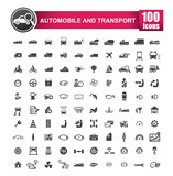 Fototapety 100 icons set of auto transport and logistic isolated on white background vector illustration eps 10