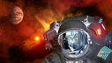 Astronaut planet Mars spaceman helmet ufo space martian alien et extraterrestrial. Elements of this image furnished by NASA.