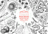 Italian pizza top view frame. Italian food menu design template. Vintage hand drawn sketch vector illustration. Engraved style - 141656281