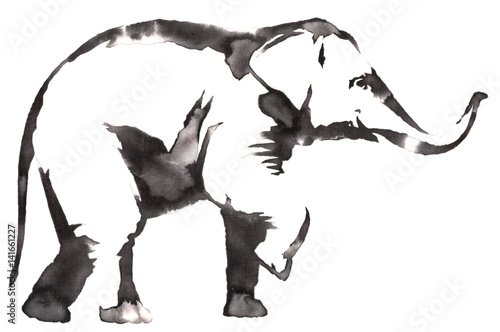 black and white monochrome painting with water and ink draw elephant illustration - 141661227